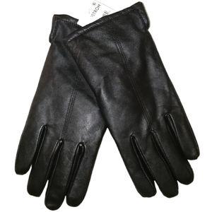 MEN NORDSTROM Black Leather Winter Lined Gloves